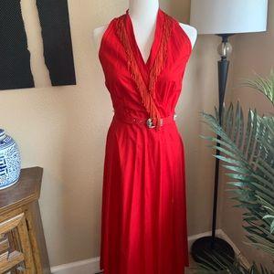 Vintage red western fringe halter dress w/ belt